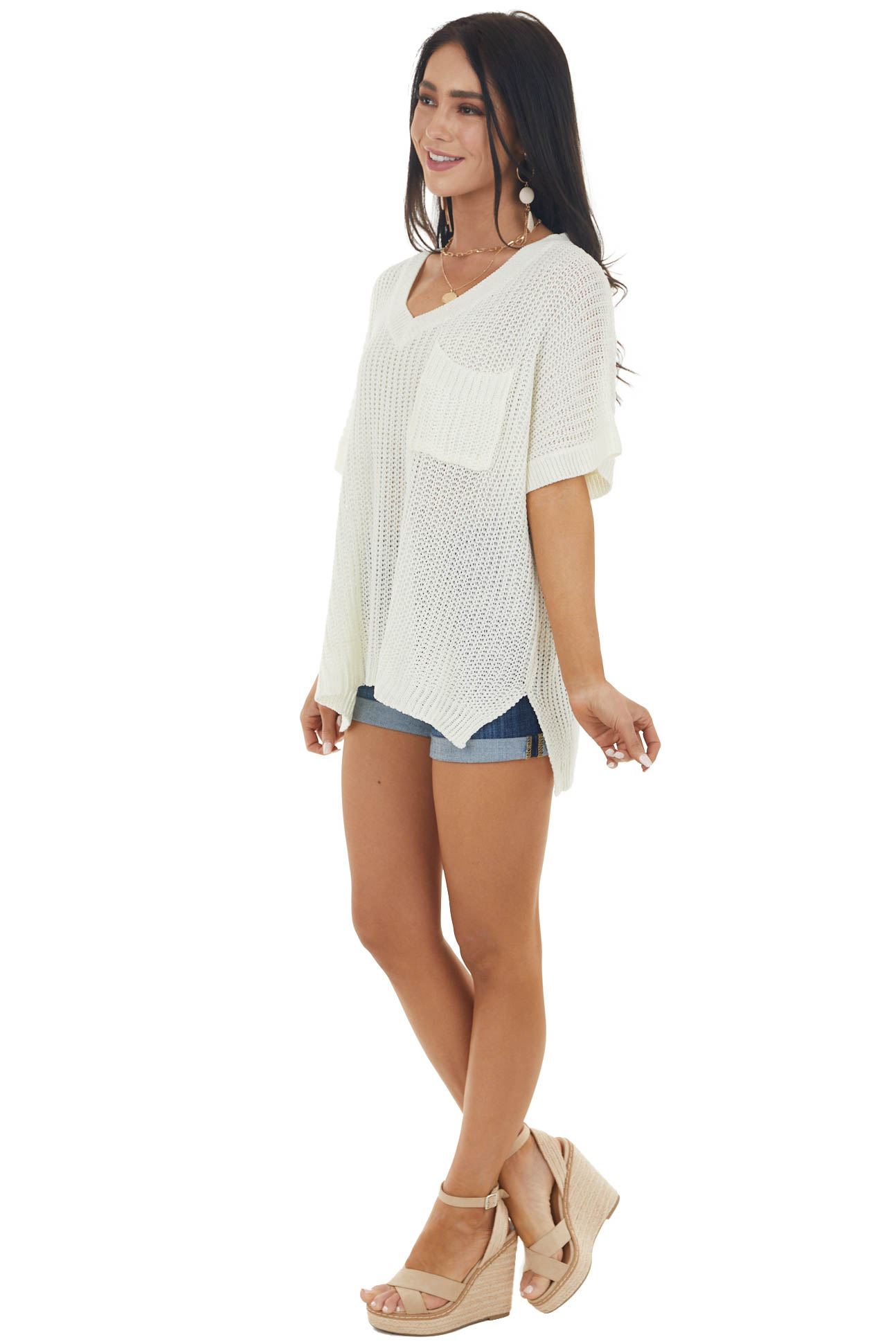 Cream Short Sleeve Loose Knit Sweater with Front Pocket
