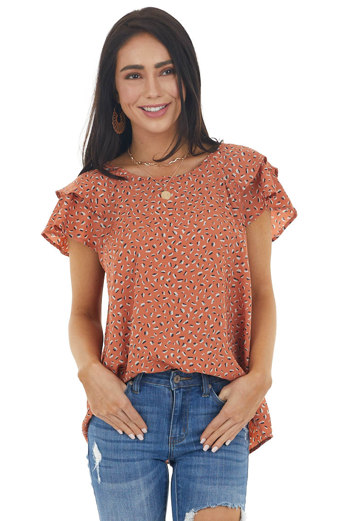 Terracotta Printed Blouse with Short Flutter Sleeves