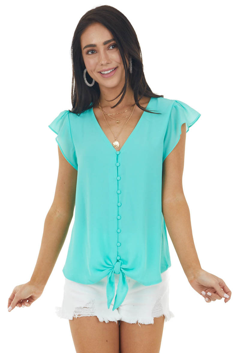 Aqua Button Up Blouse with Cap Sleeves and Front Tie