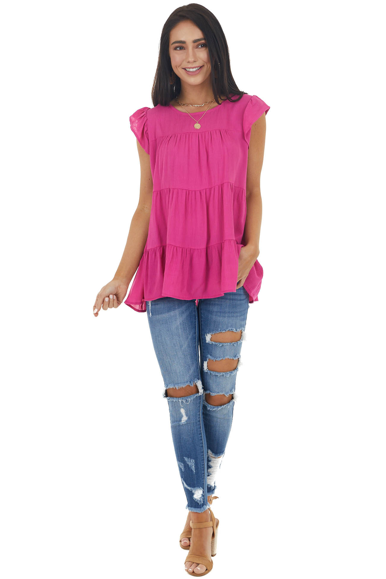 Fuchsia Tiered Textured Blouse with Short Flutter Sleeves