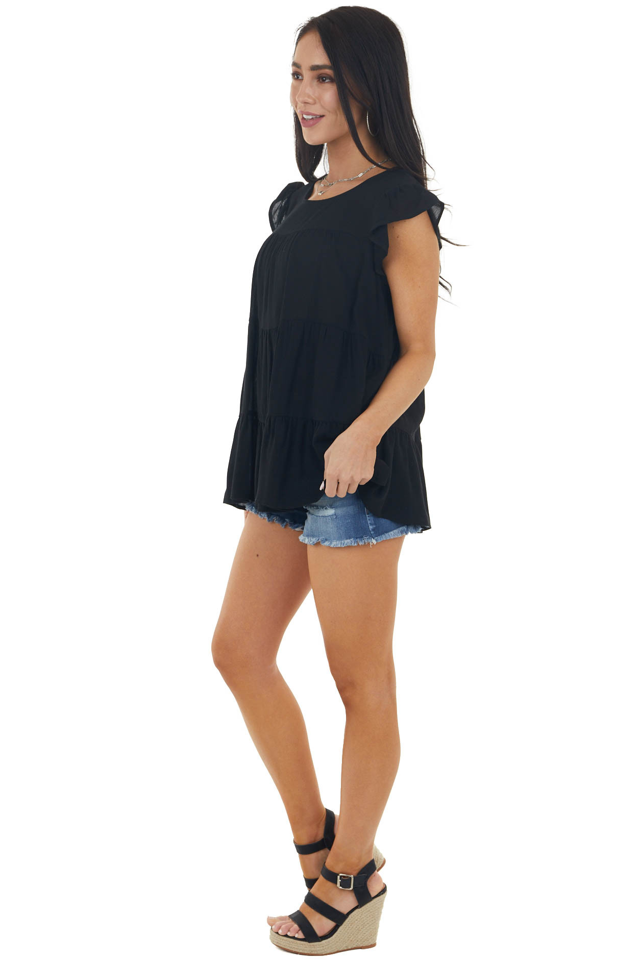 Black Tiered Textured Blouse with Short Flutter Sleeves