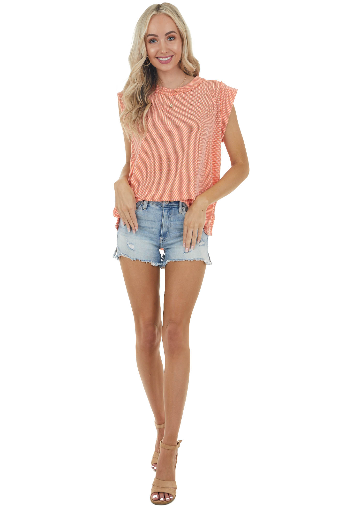 Deep Salmon Short Sleeve Loose Knit Top with Pleated Detail