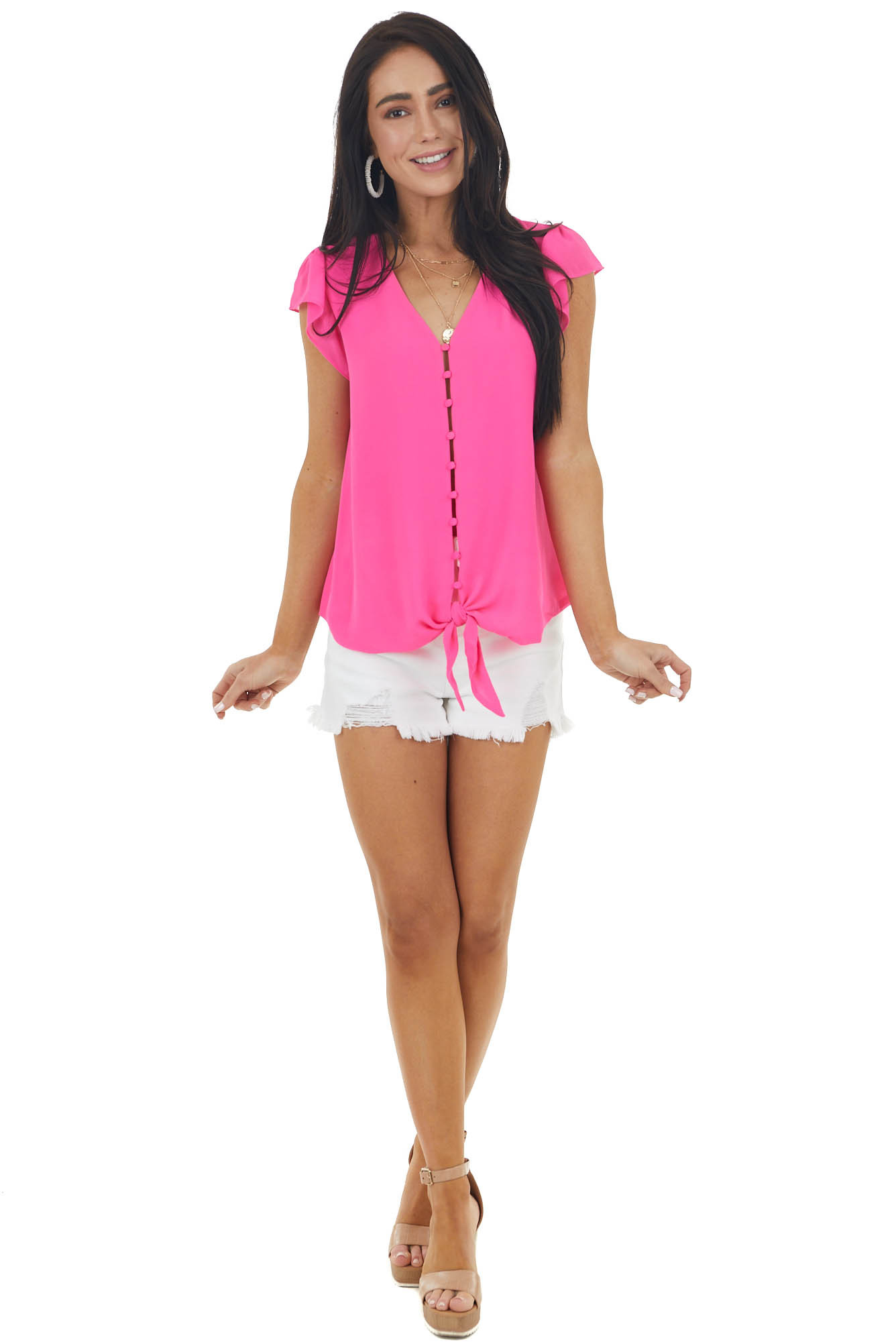 Hot Pink Button Up Blouse with Cap Sleeves and Front Tie