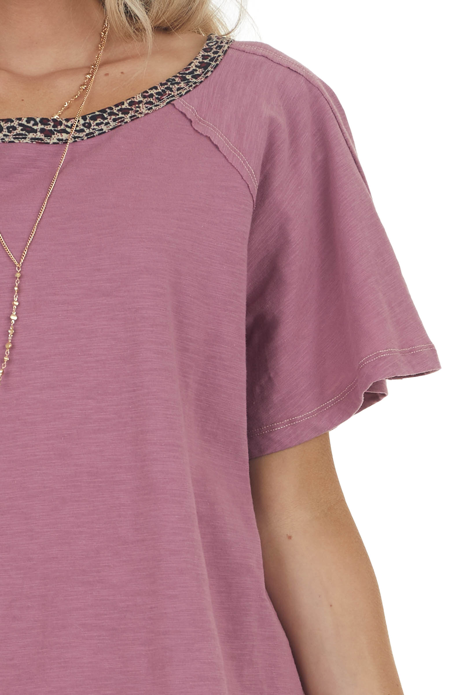 Heathered Berry Knit Top with Leopard Print Neckline