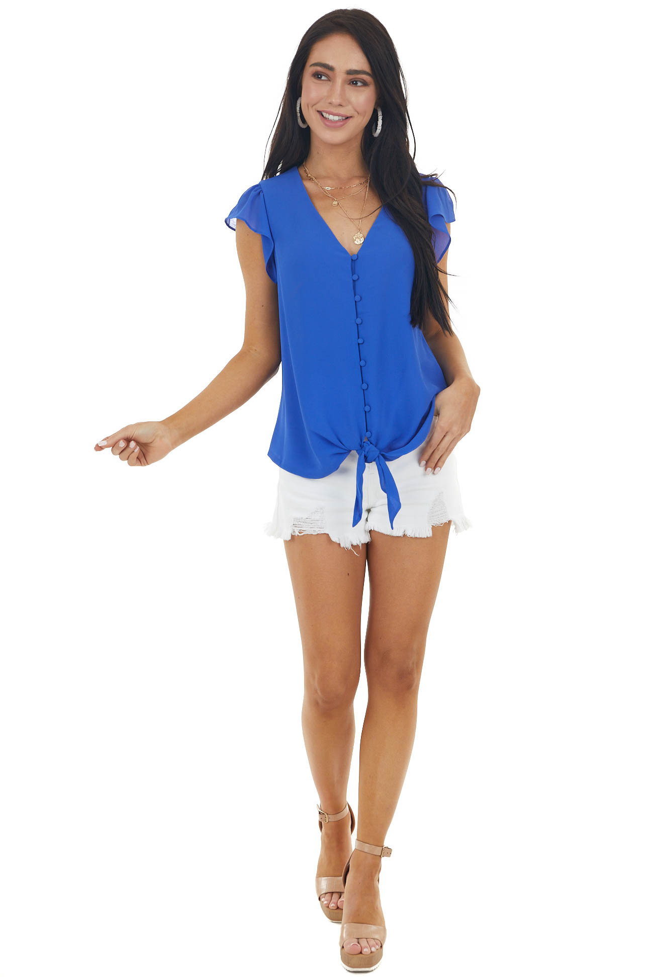Royal Blue Button Up Blouse with Cap Sleeves and Front Tie