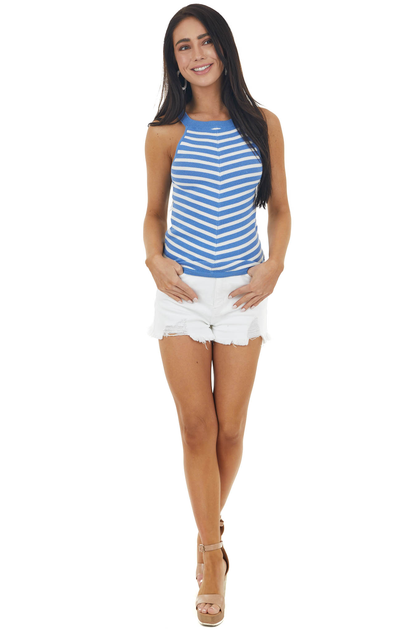 Cornflower and Ivory Striped Sleeveless Loose Knit Top