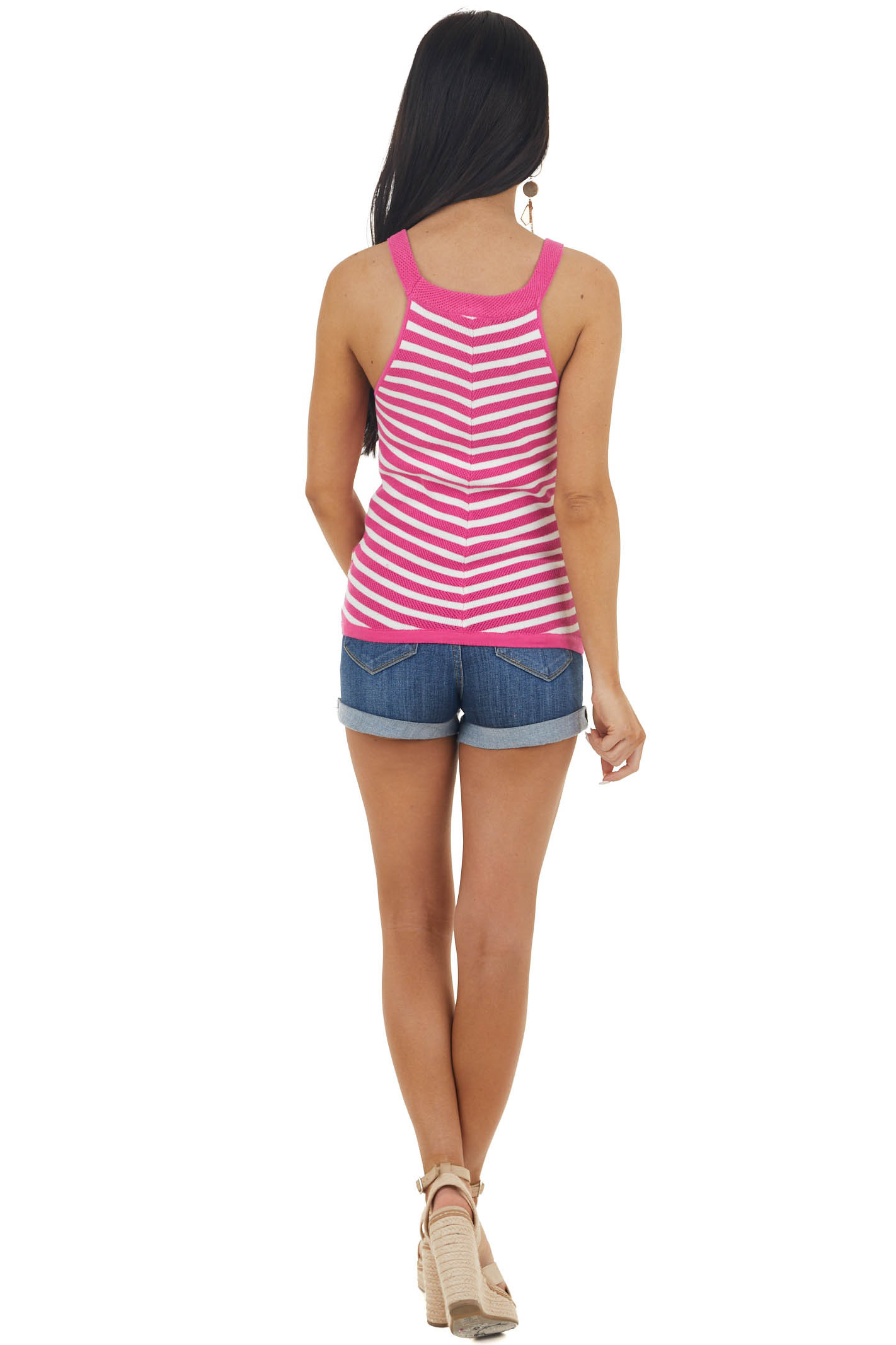 Fuchsia and Ivory Striped Sleeveless Loose Knit Top