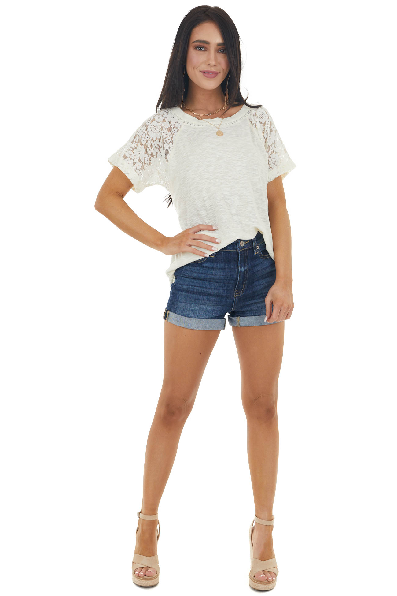 Heathered Cream Short Sleeve Knit Top with Lace Contrast