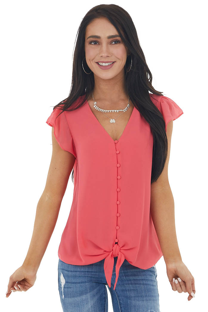 Watermelon Button Up Blouse with Cap Sleeves and Front Tie