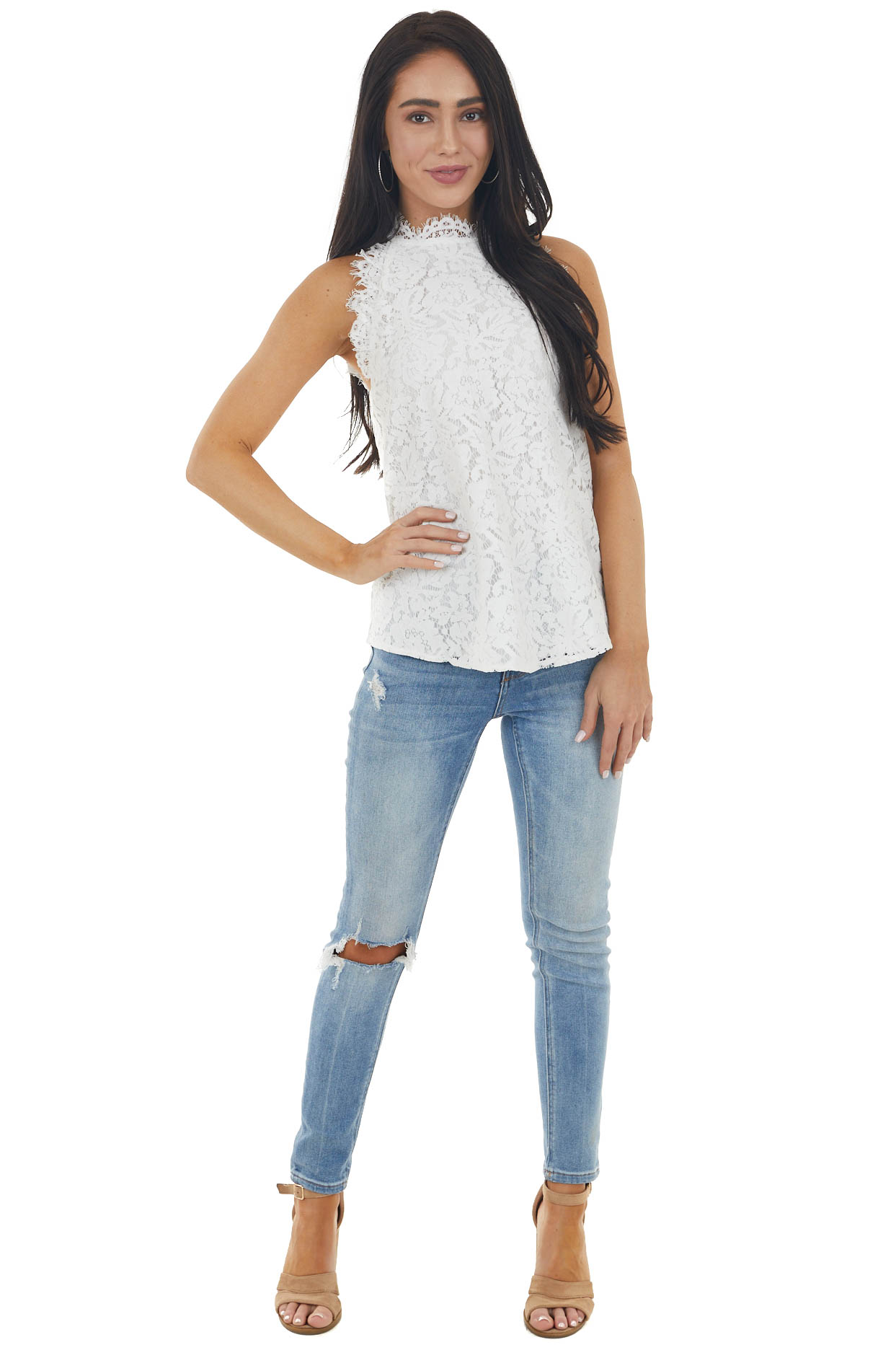 Ivory Lace Scalloped Sleeveless Blouse with Frayed Detail