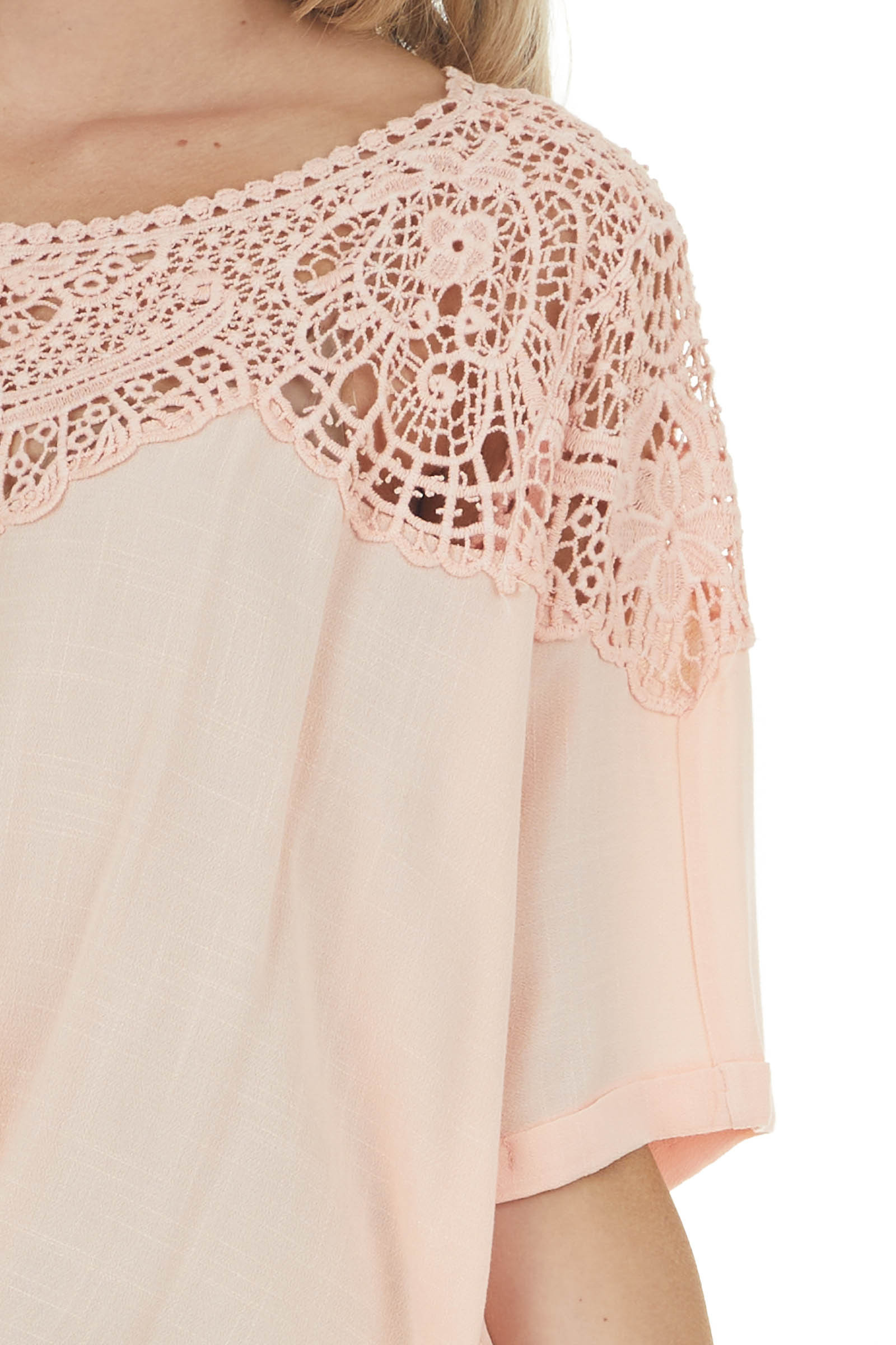 Peach Short Sleeve Crochet Lace Trim Blouse with Front Tie