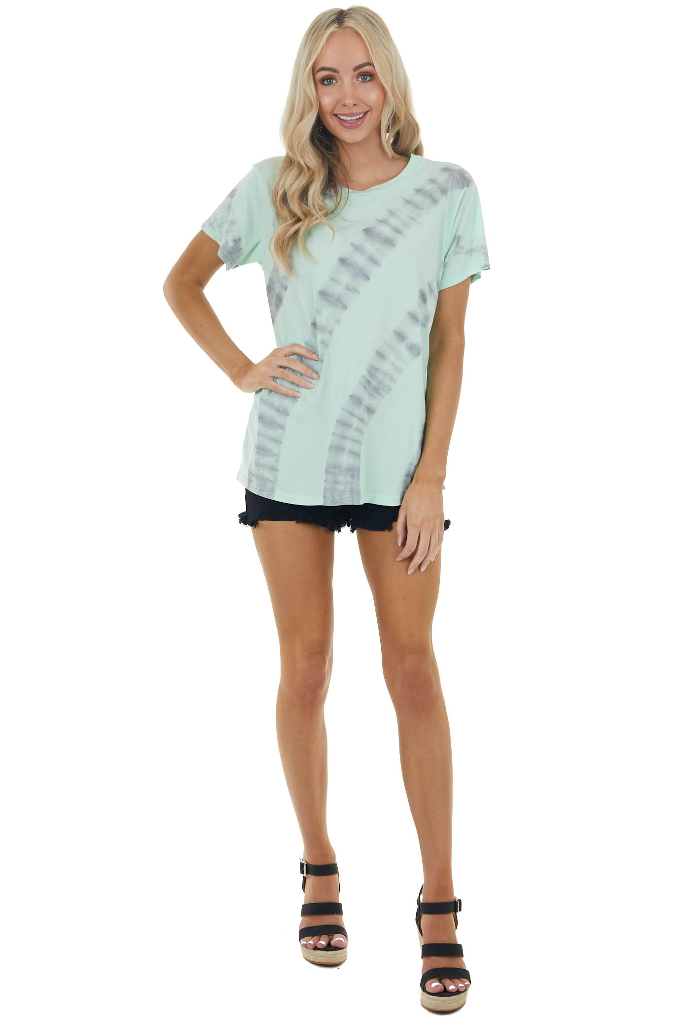 Mint Green and Stone Grey Tie Dye Short Sleeve Knit Top