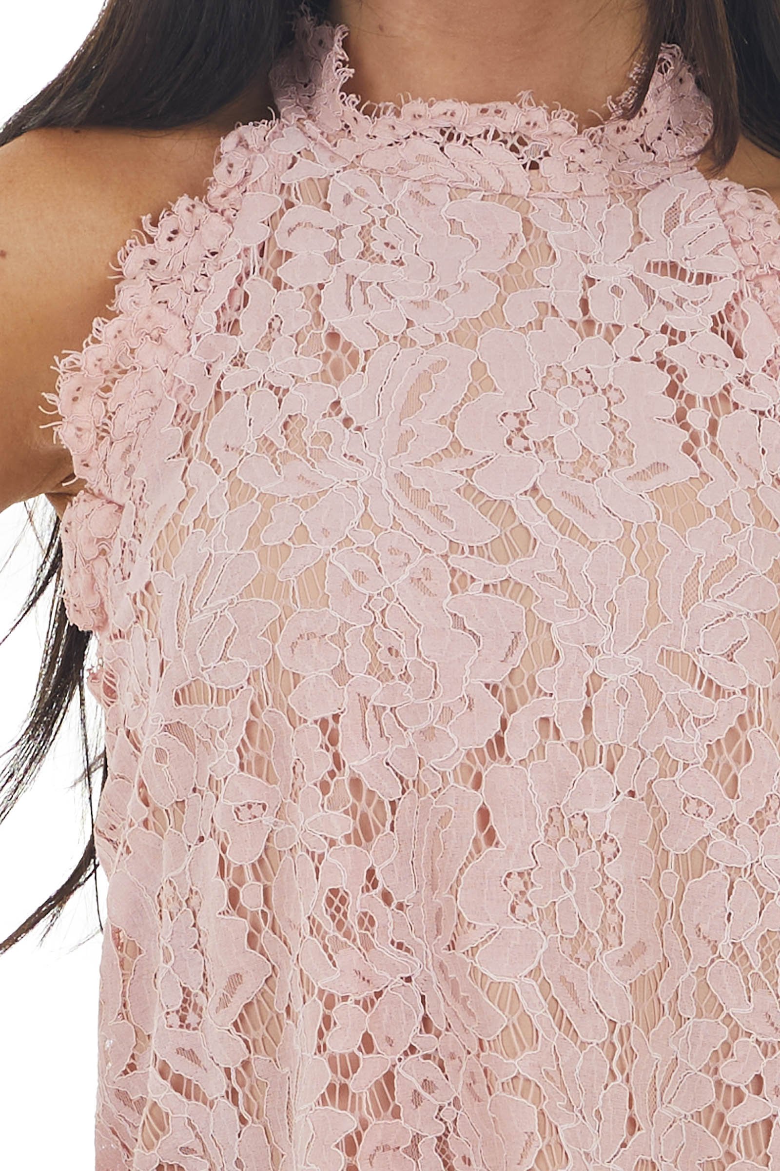Blush Lace Scalloped Sleeveless Blouse with Frayed Detail