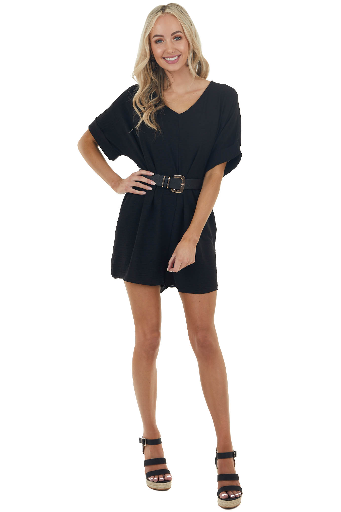 Black Short Rolled Sleeves Woven Romper with Side Pockets