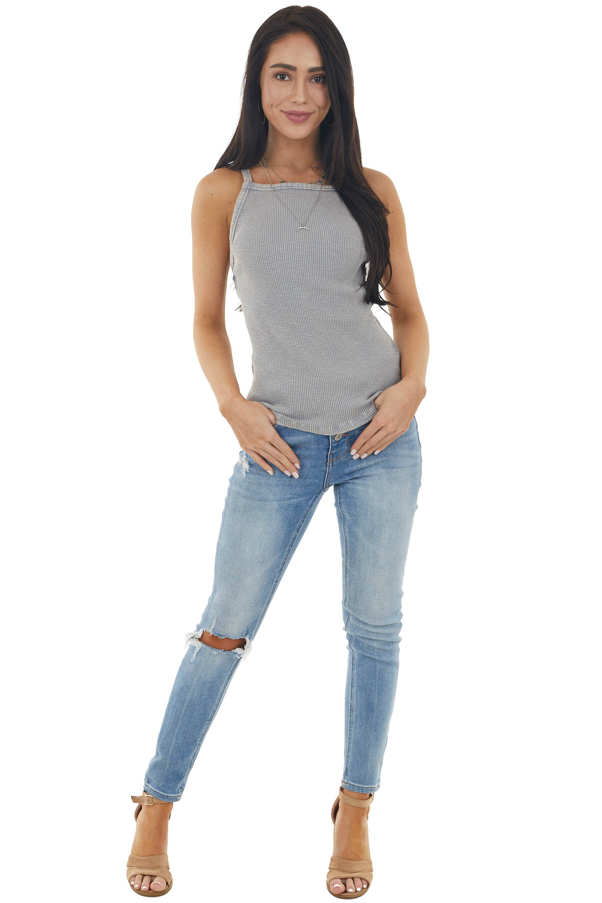 Grey Mineral Wash Ribbed Knit Tank Top with Halter Neckline