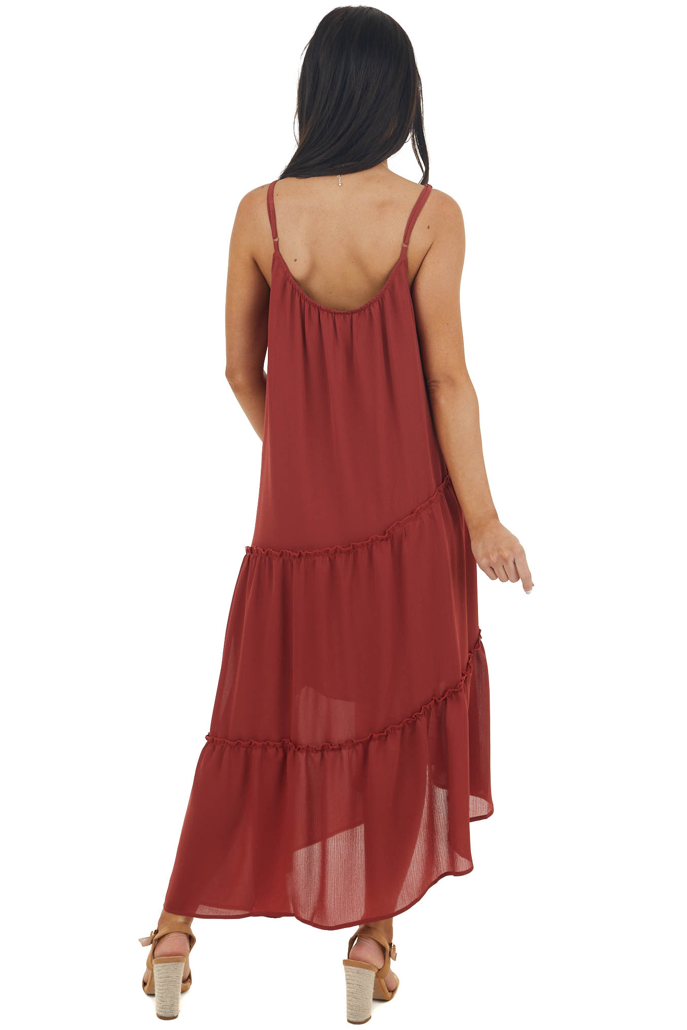 Faded Sangria Asymmetrical Spaghetti Strap Tiered Midi Dress