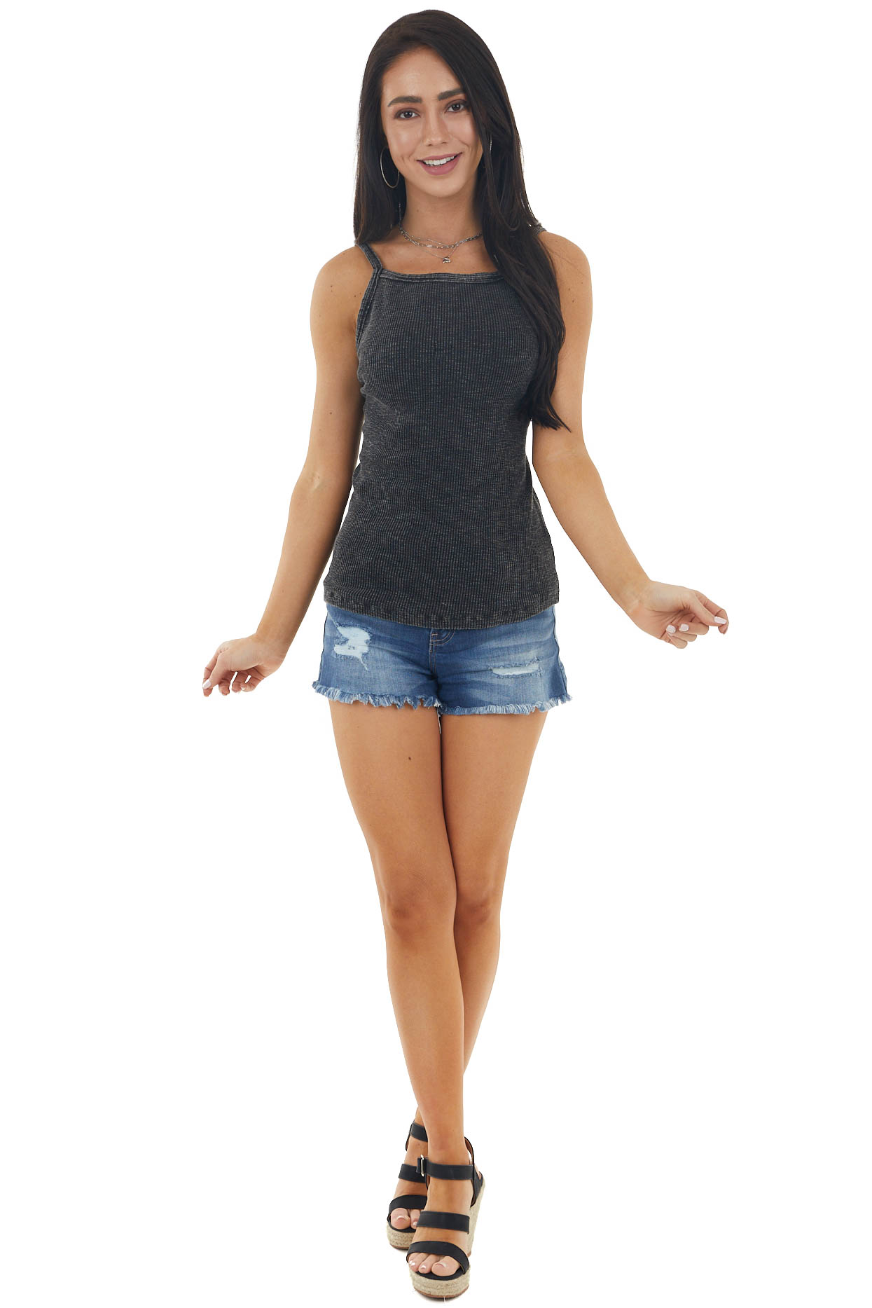 Black Mineral Wash Ribbed Knit Tank Top with Halter Neckline