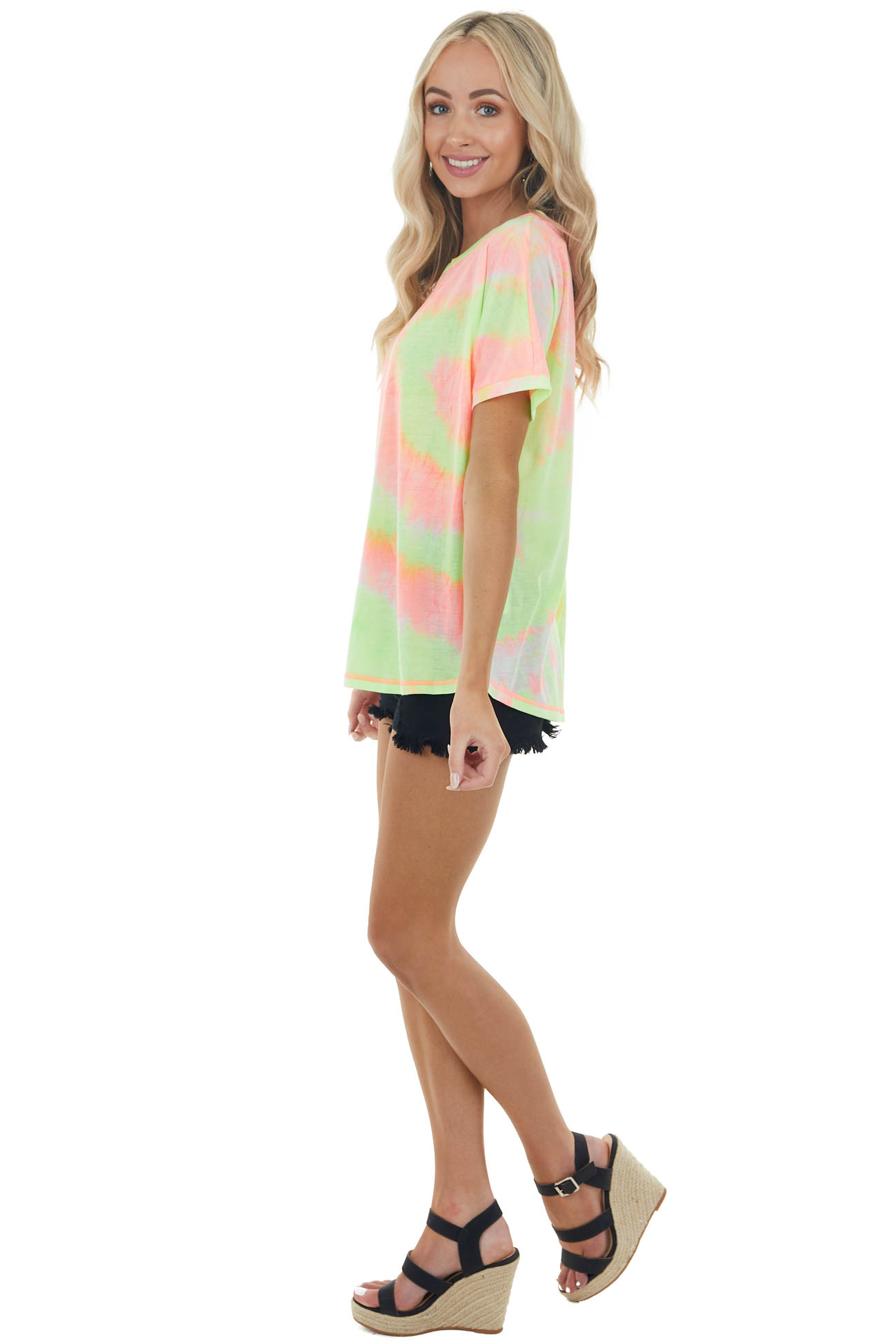 Neon Pink and Neon Yellow Tie Dye Short Sleeve Knit Top