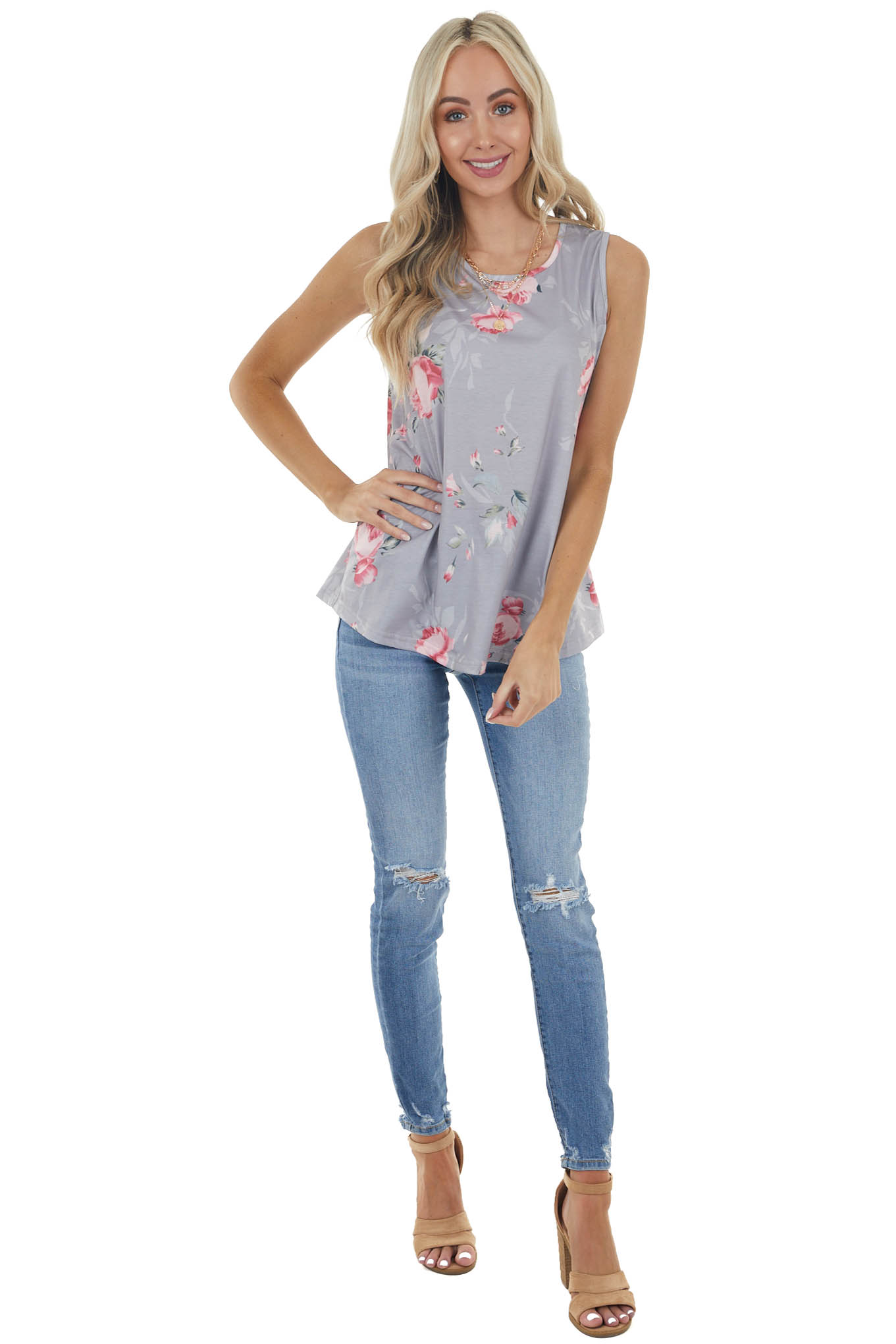 Heather Grey Floral Print Soft Tank Top with Rounded Neck