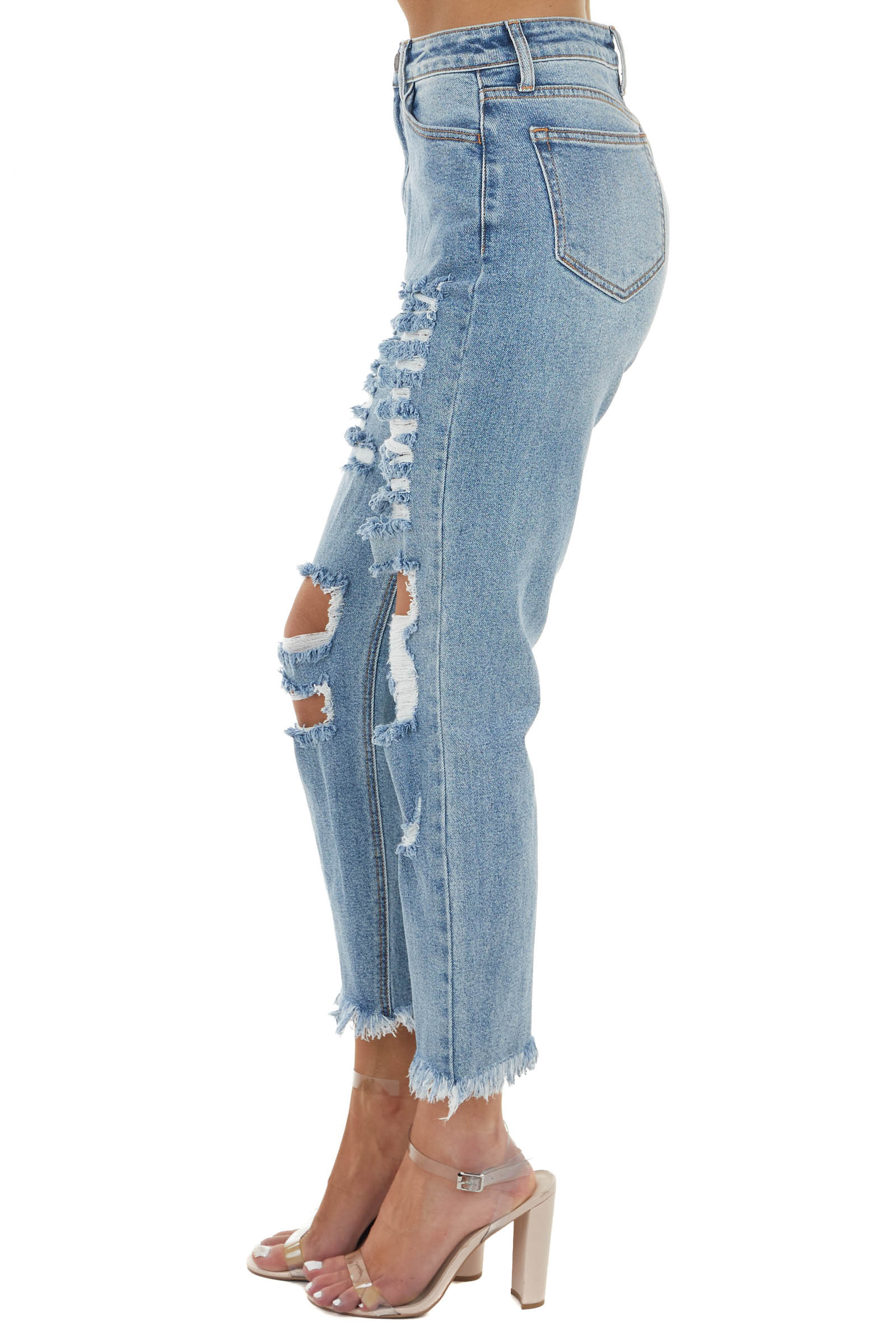 Medium Wash Distressed High Rise Jeans with Frayed Detail
