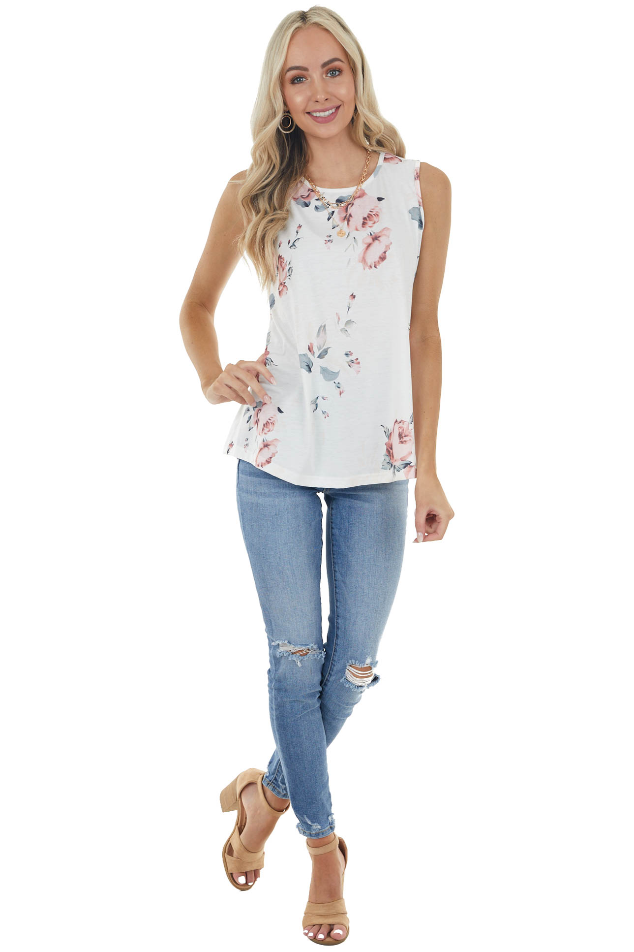 Pearl White Floral Print Soft Tank Top with Rounded Neck
