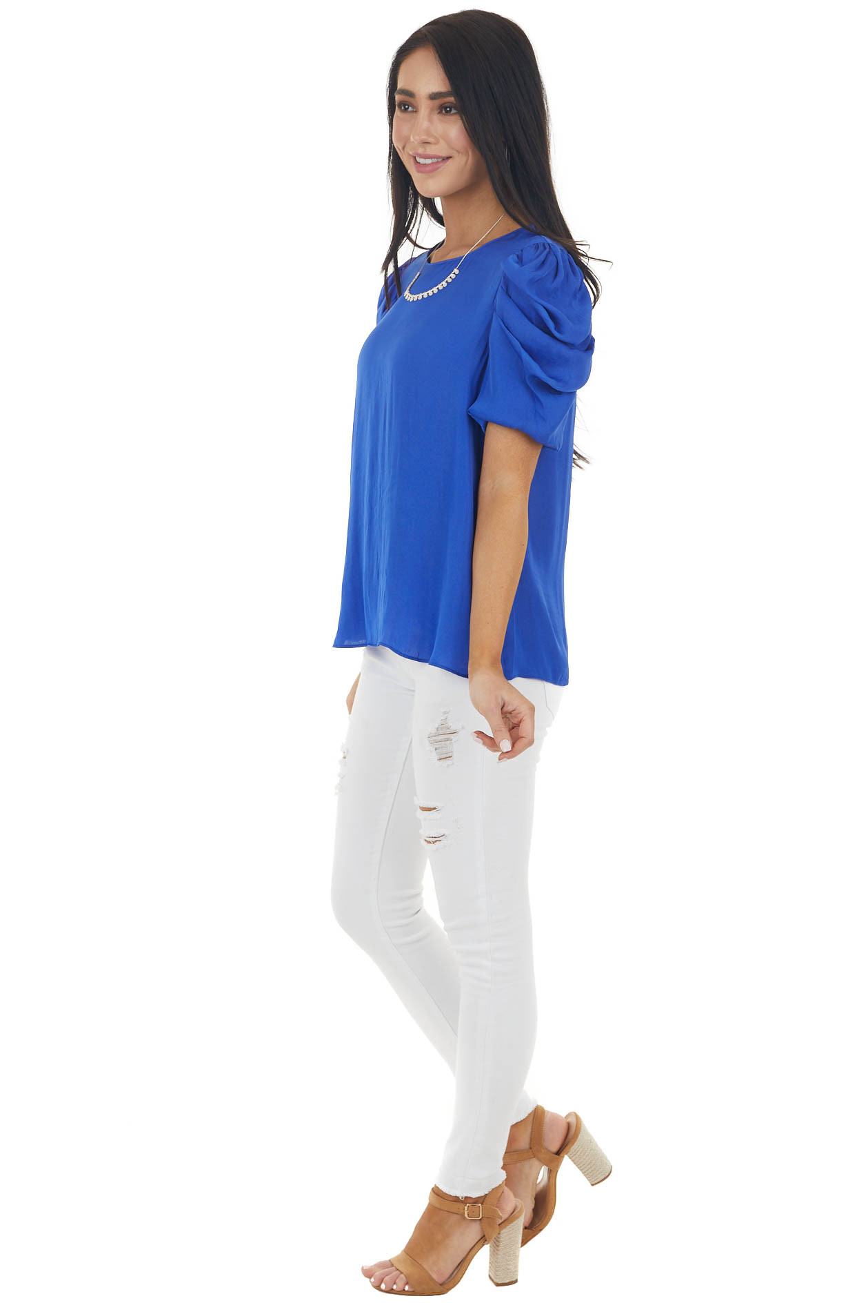 Royal Blue Silky Woven Top with Puffy Pleated Cap Sleeves