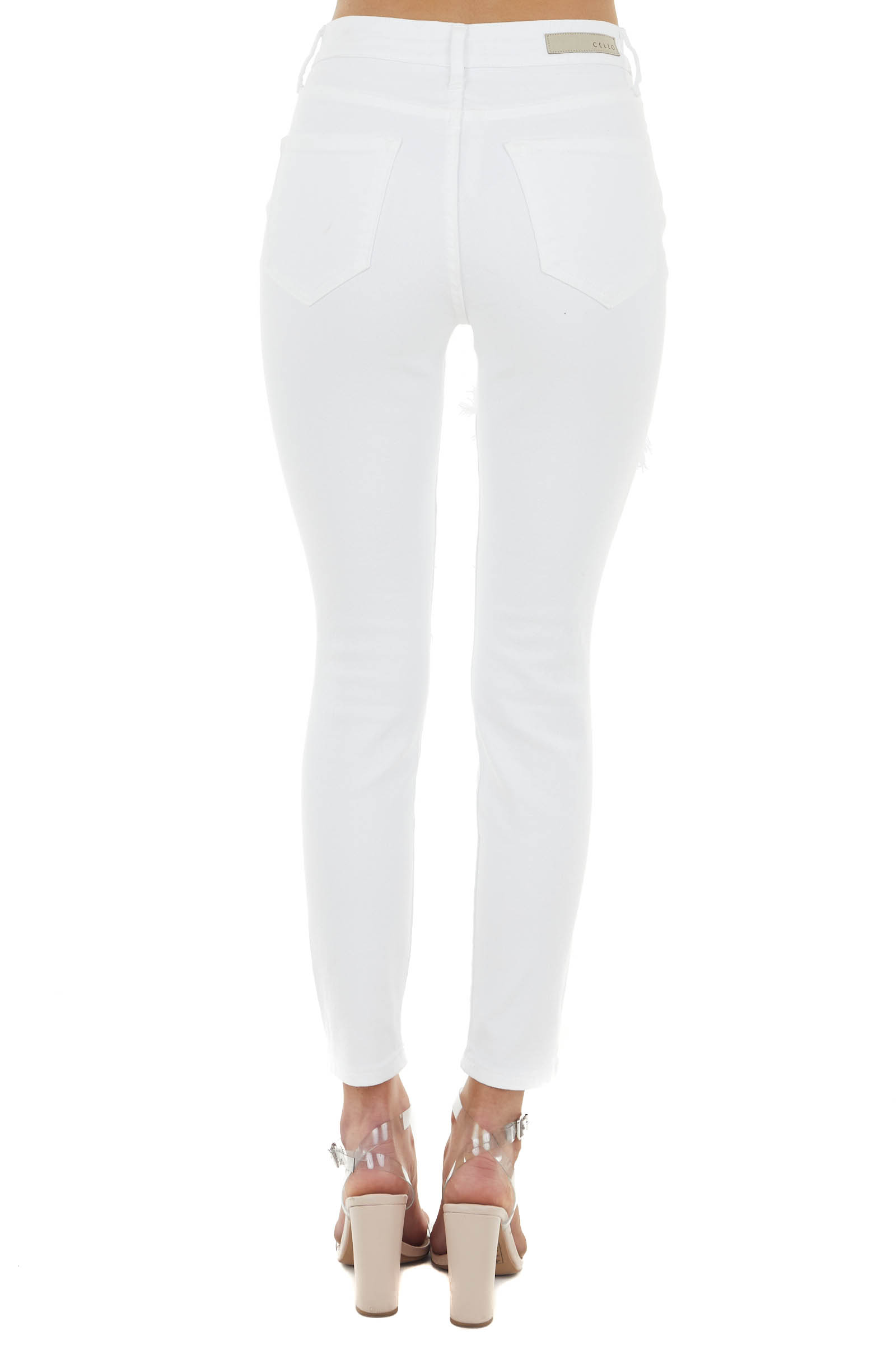 Off White High Rise Super Distressed Skinny Jeans