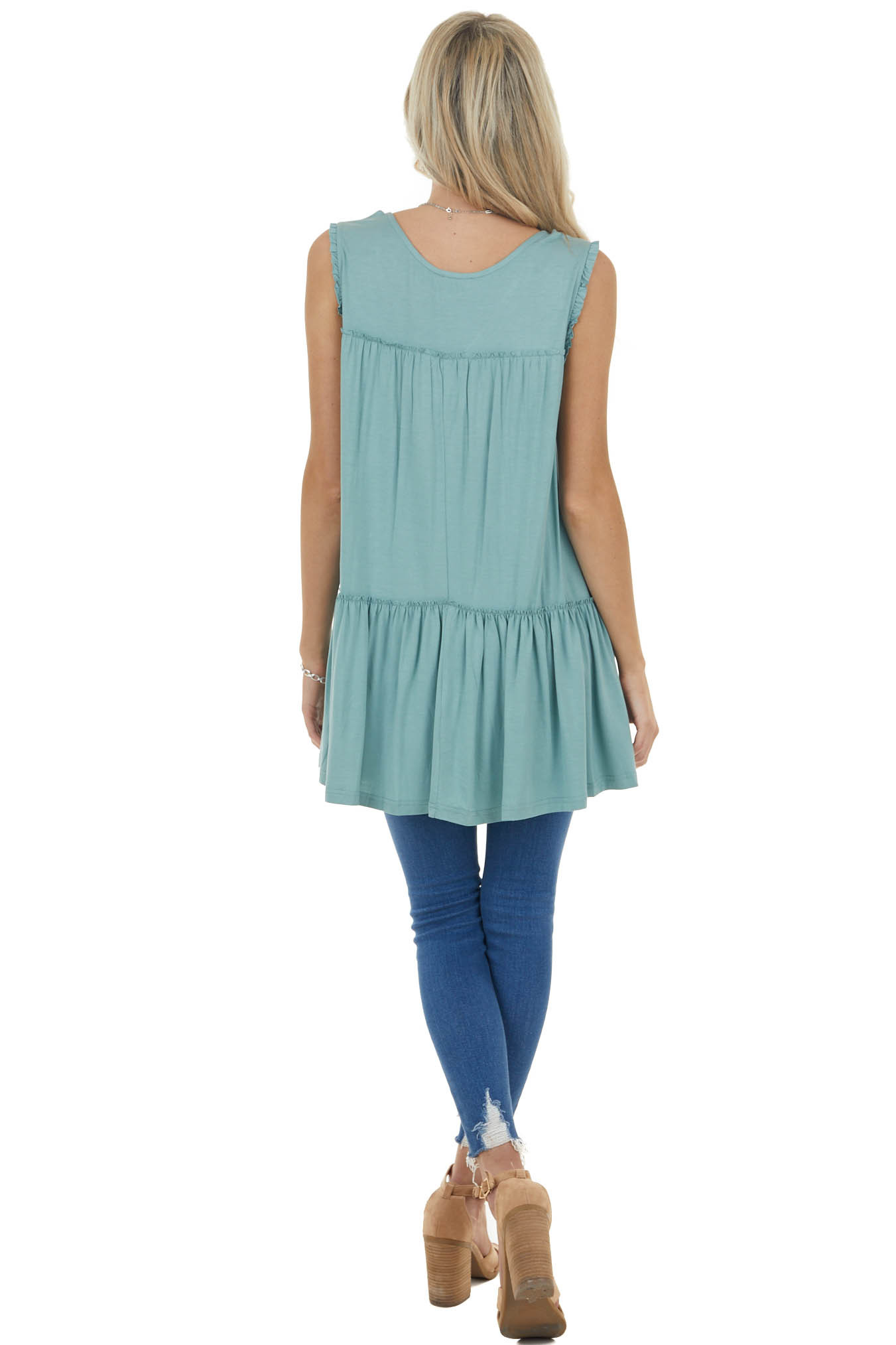 Dark Sage Sleeveless Tunic Knit Top with Frill Details