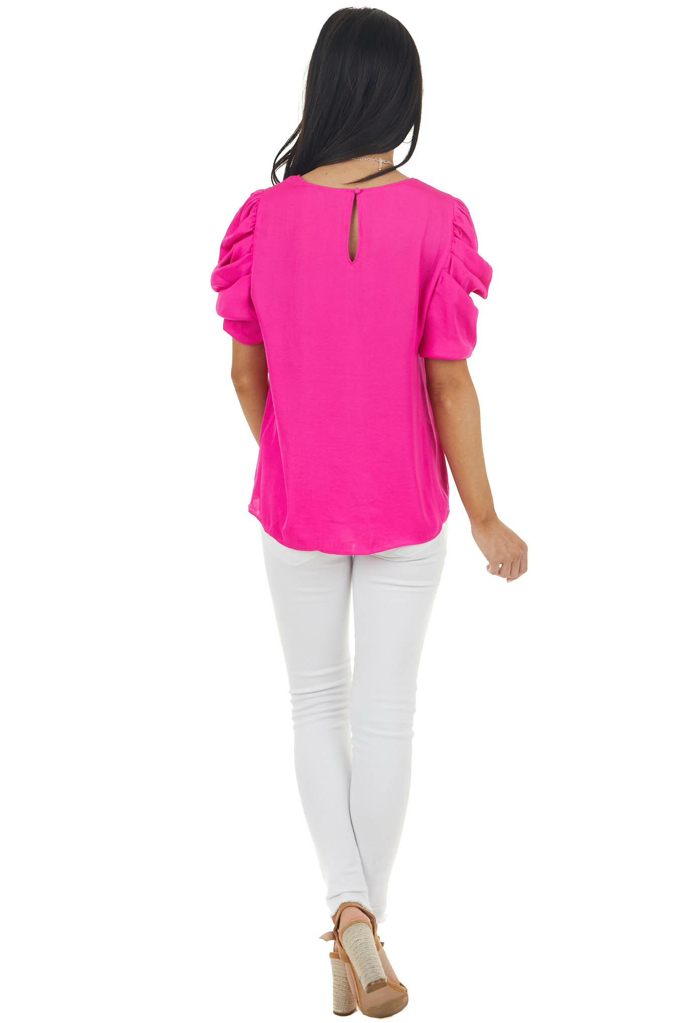Fuchsia Silky Woven Top with Puffy Pleated Cap Sleeves