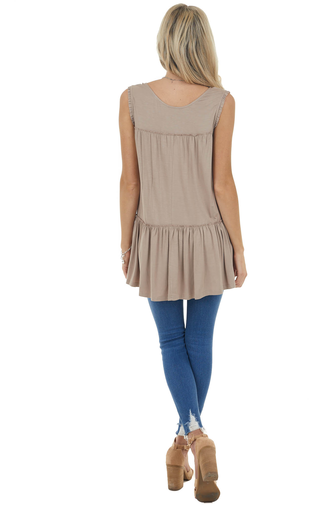 Dark Latte Sleeveless Tunic Knit Top with Frill Details