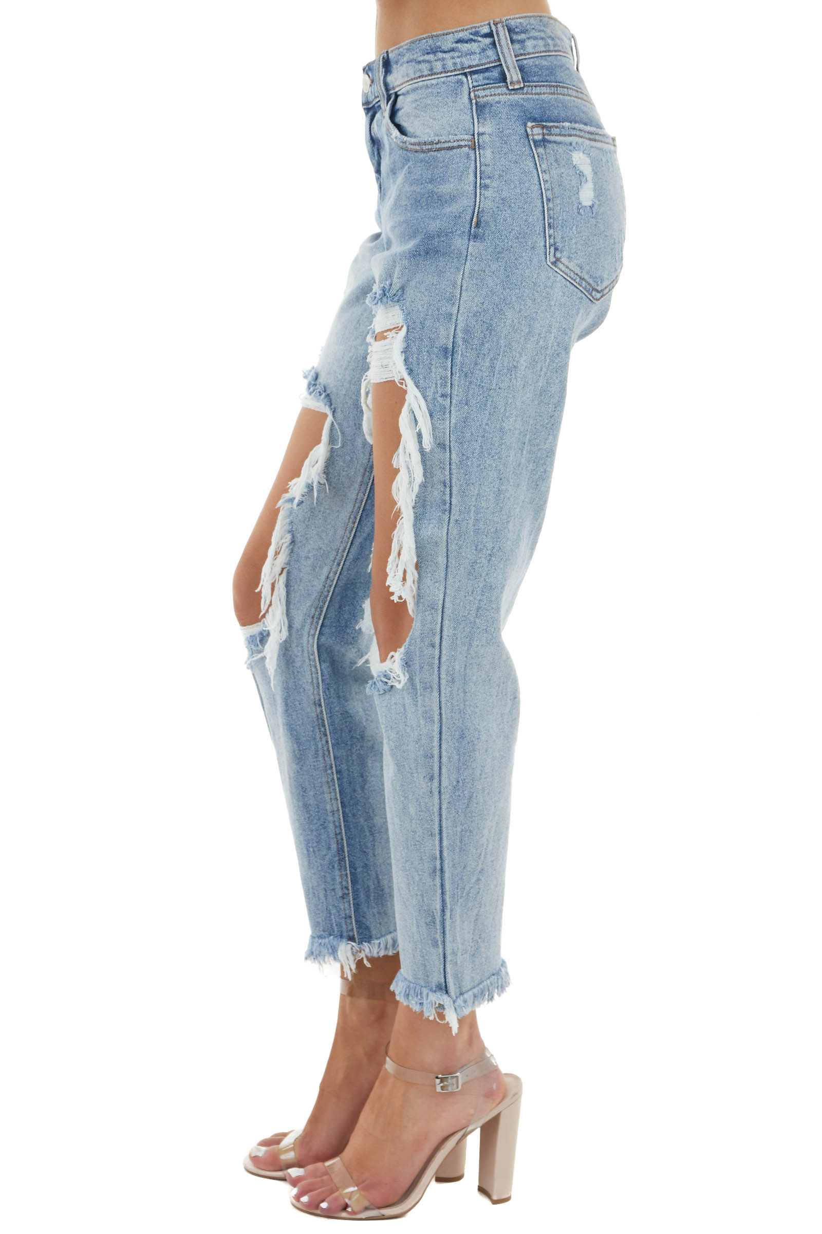 Medium Wash Mid Rise Distressed Jeans with Frayed Detail