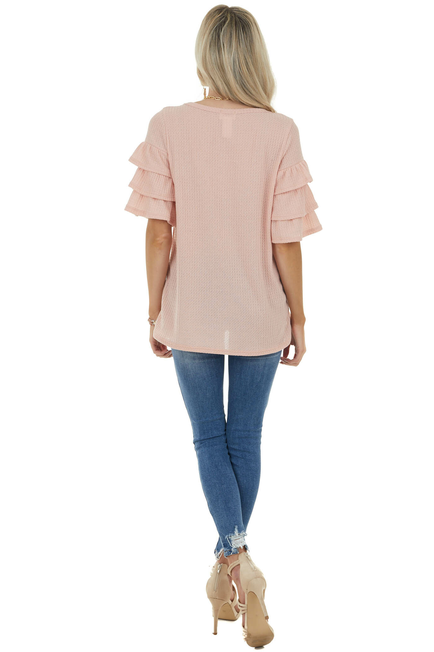 Peach Half Sleeve Waffle Knit with Flare Details