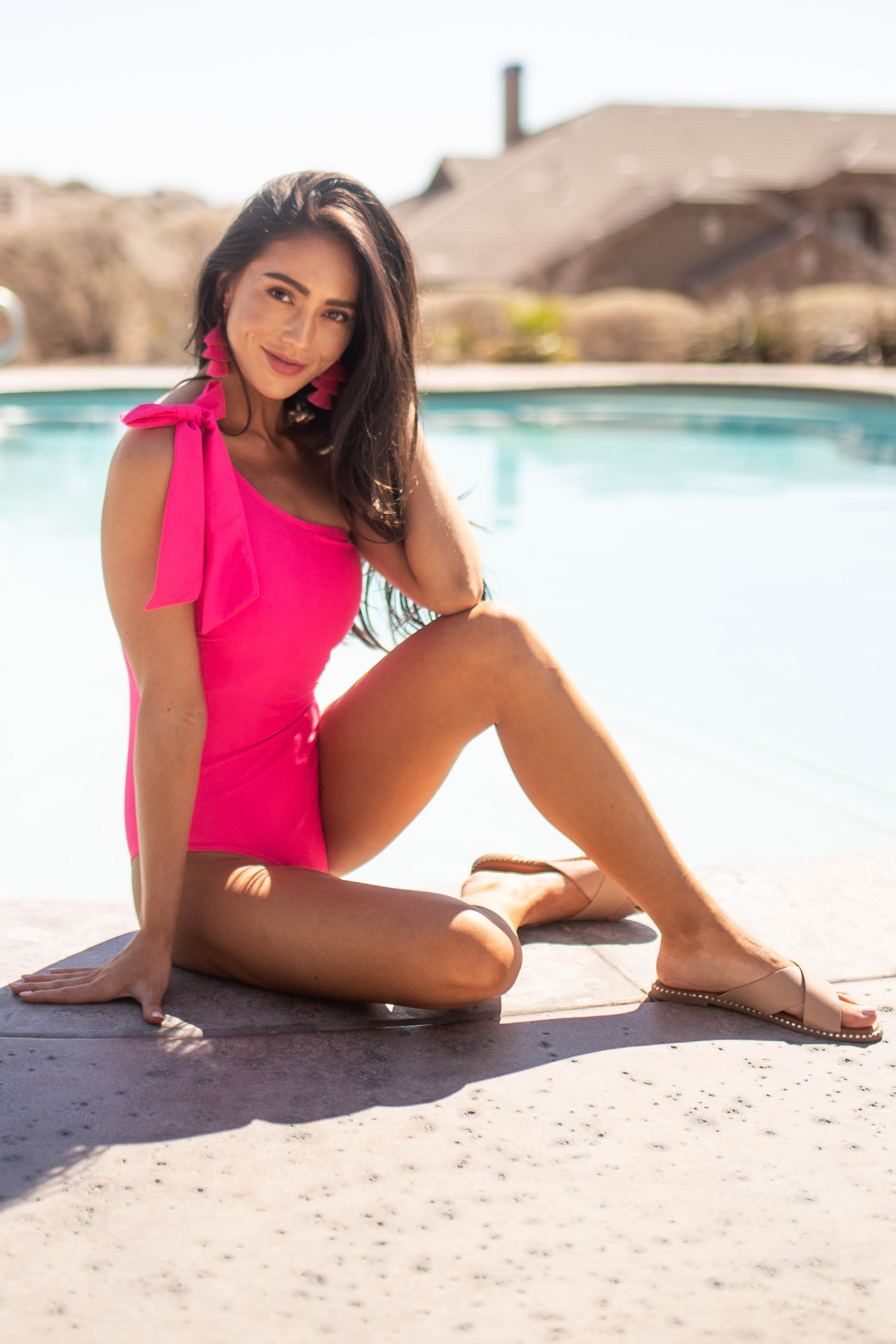 Hot Pink One Shoulder One Piece Swimsuit with Tie Detail