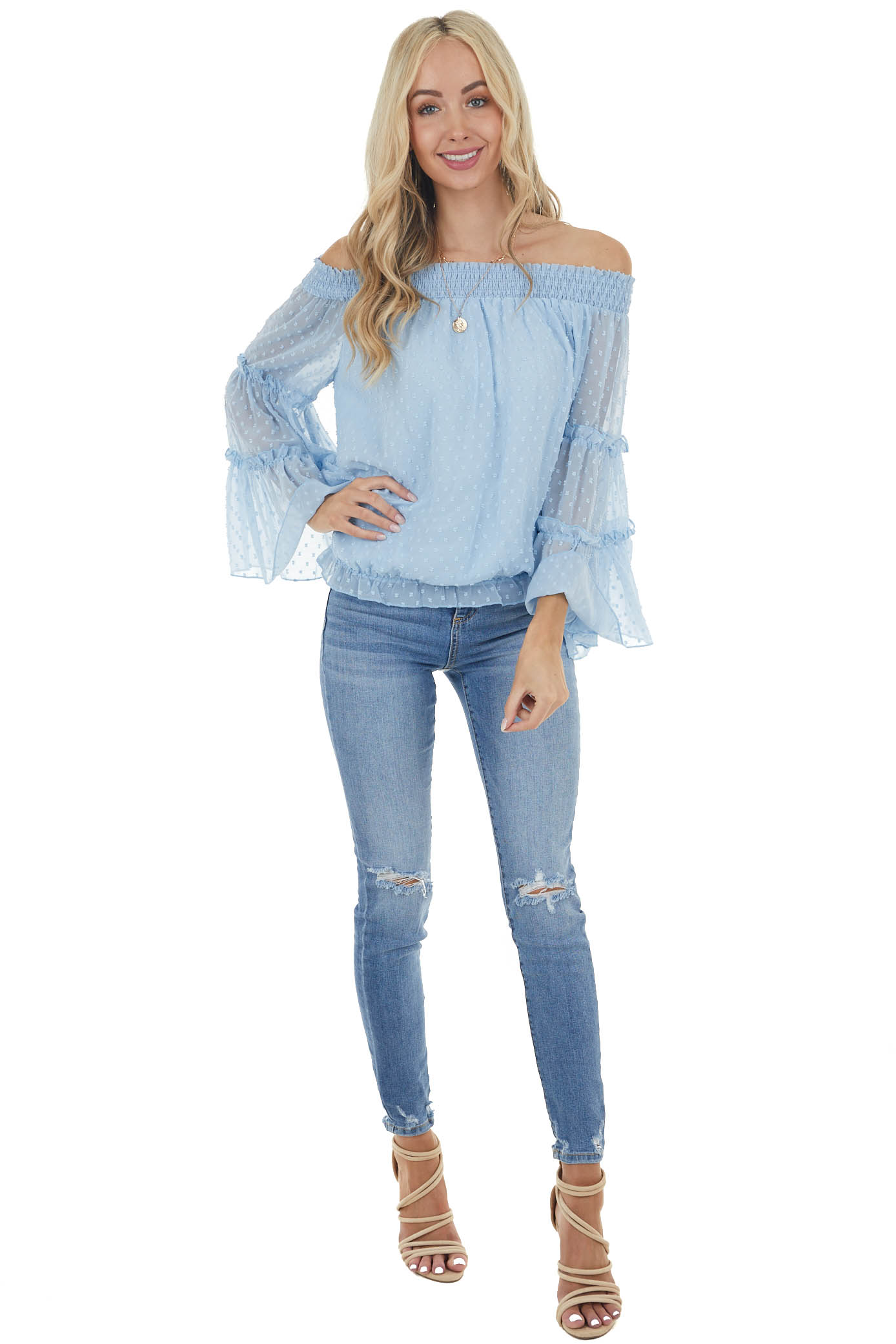 Baby Blue Off Shoulder Long Sleeve Top with Swiss Dots