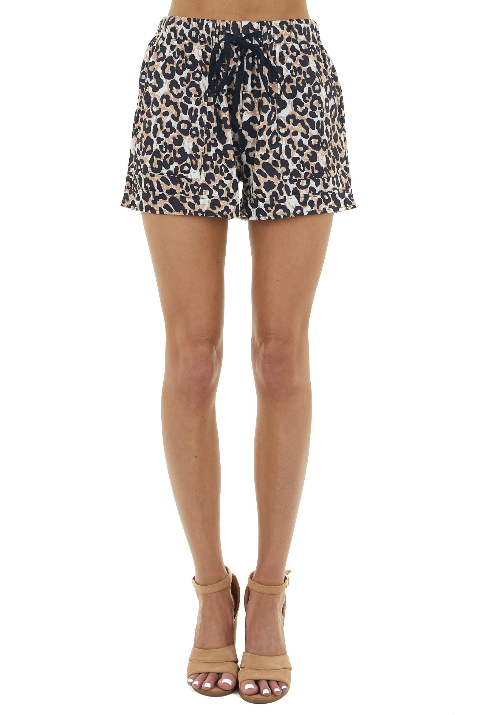 Camel Brown Leopard Print Drawstring Shorts with Pockets
