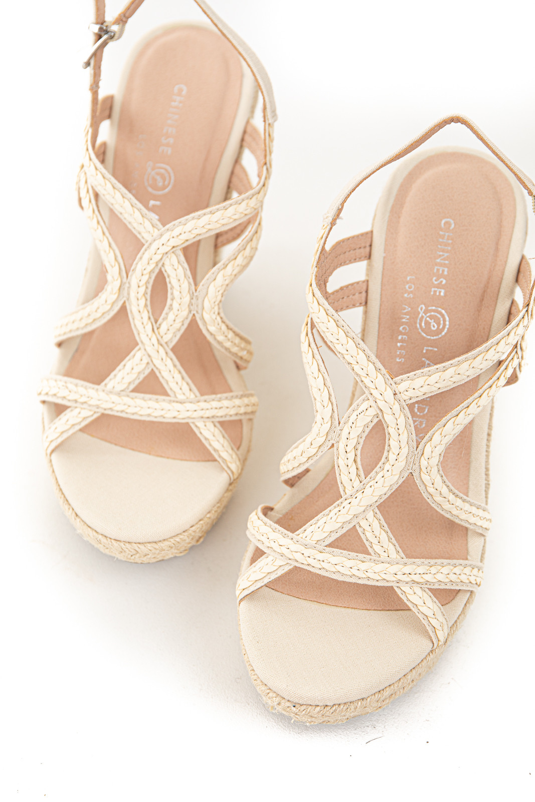 Cream Strappy Braided Espadrile Wedges with Silver Buckle