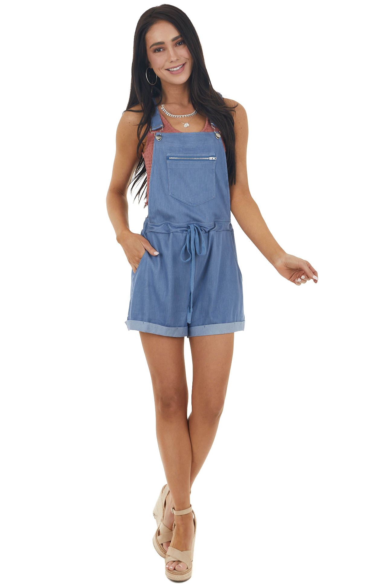 Dusty Blue Sleeveless Knit Overalls with Zipper Detail