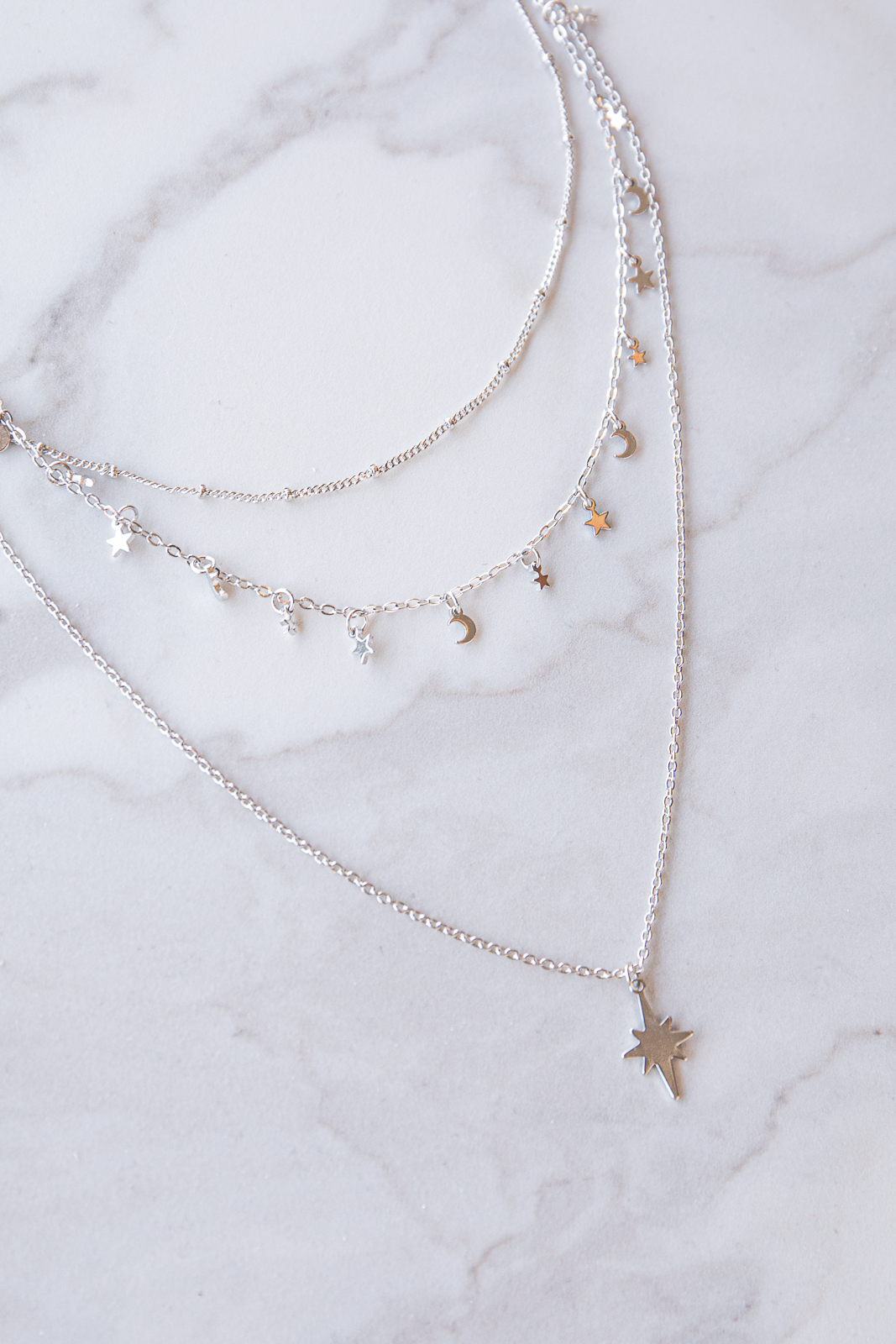 Silver Layered Chain Necklace with Star and Moon Charms