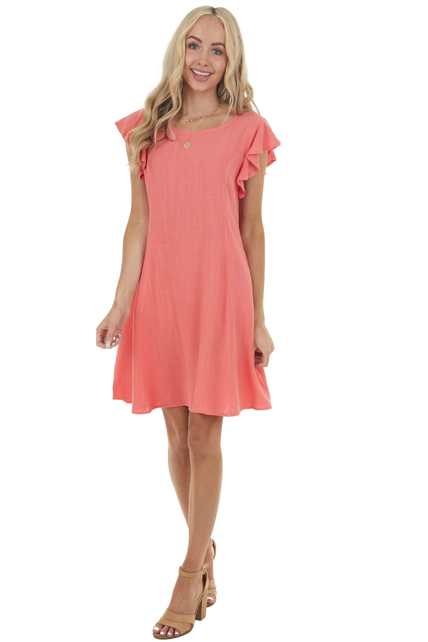 Coral Shift Short Linen Dress with Short Ruffle Sleeves