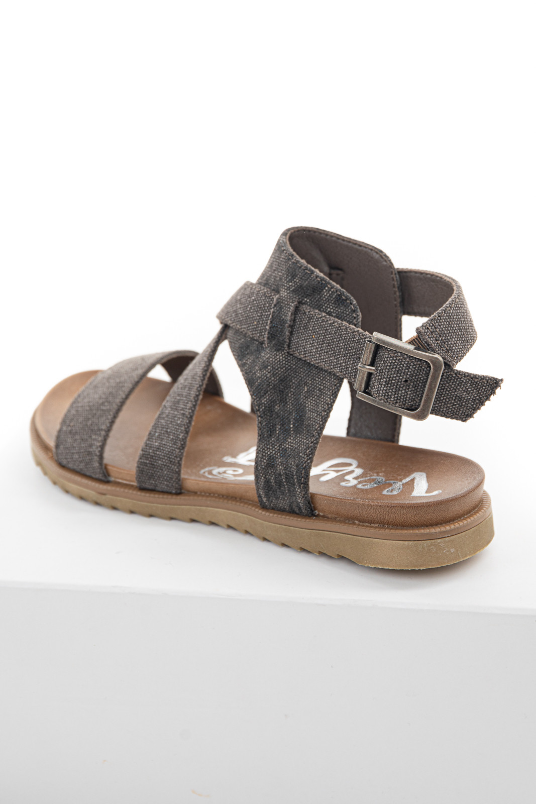 Faded Coffee Textured Strappy Sandals with Buckle Closure