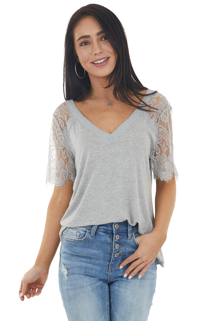 Heather Grey Short Sleeve Knit Top with Lace Details