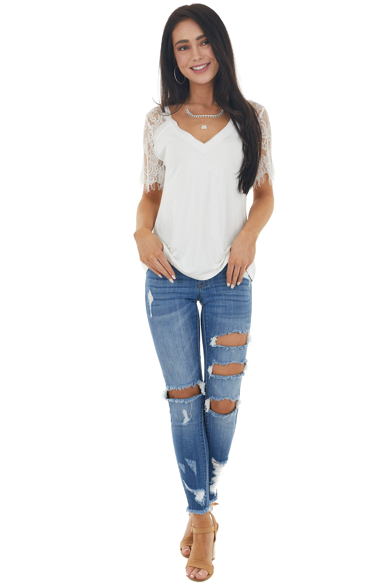 Ivory Short Sleeve Knit Top with Lace Details