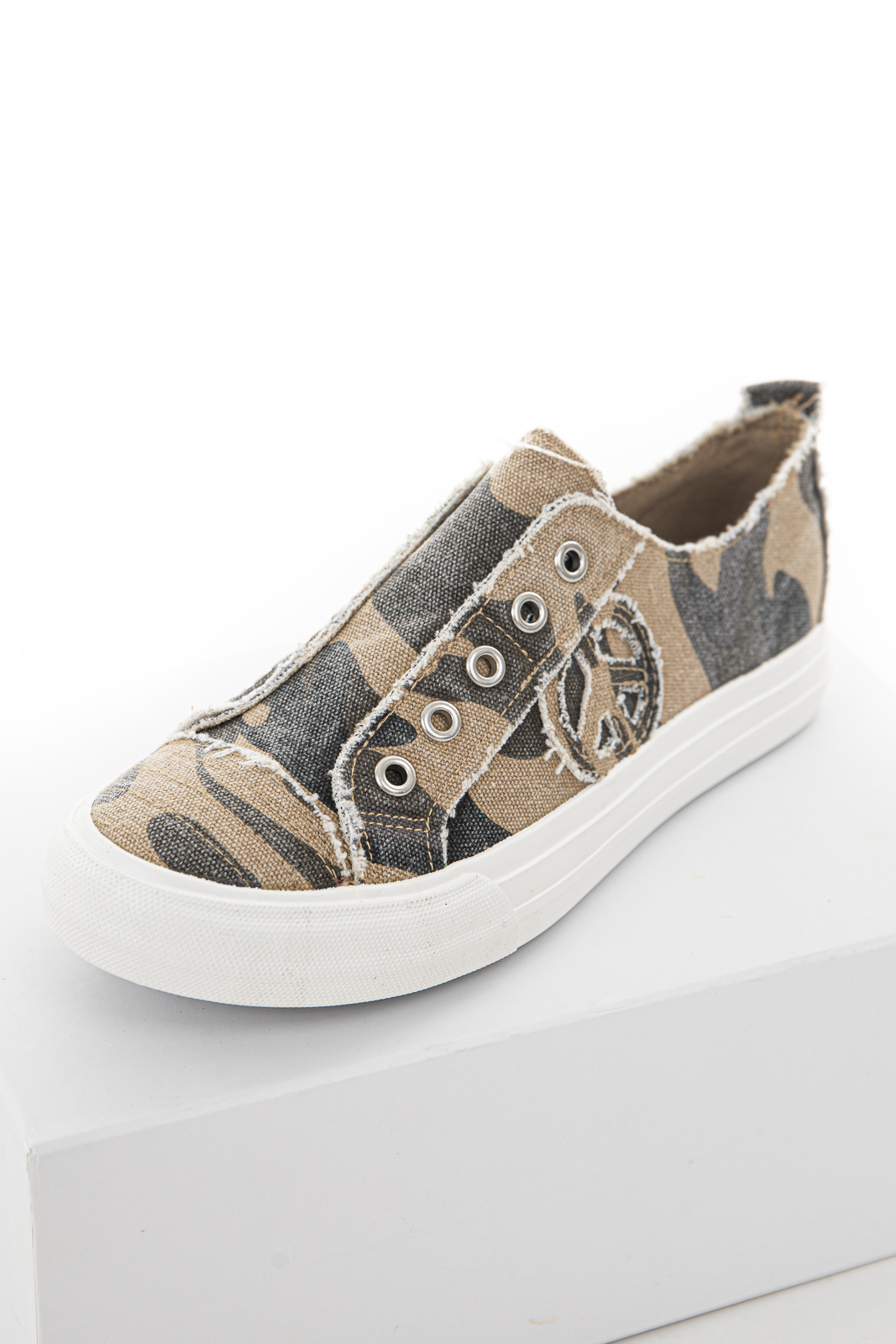 Faded Olive Camo Print Slip On Sneaker with Frayed Details