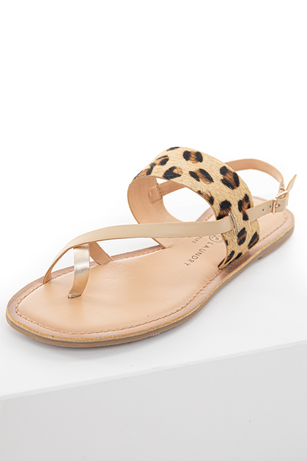 Beige Faux Leather Strappy Sandal with Leopard Print Detail