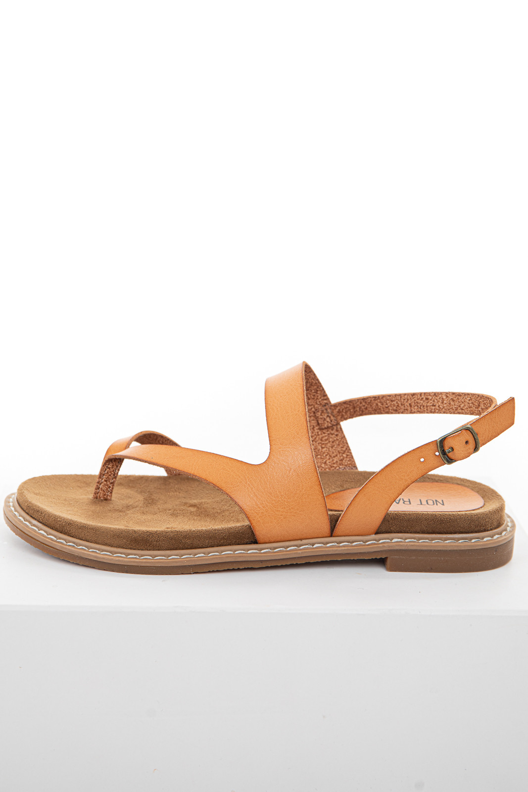 Light Walnut Strappy Thong Sandal with Gold Buckle Closure