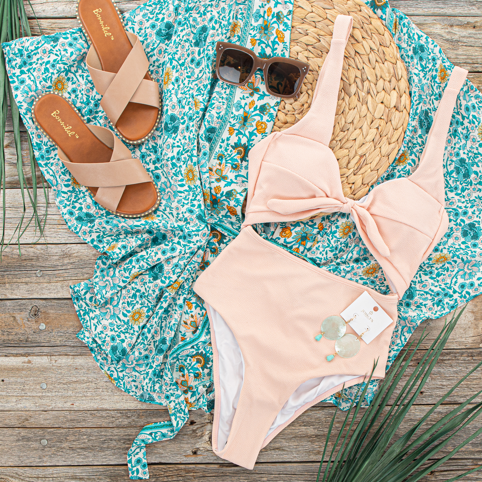 Peach Textured One Piece Front Tie Swimsuit with Cut Outs