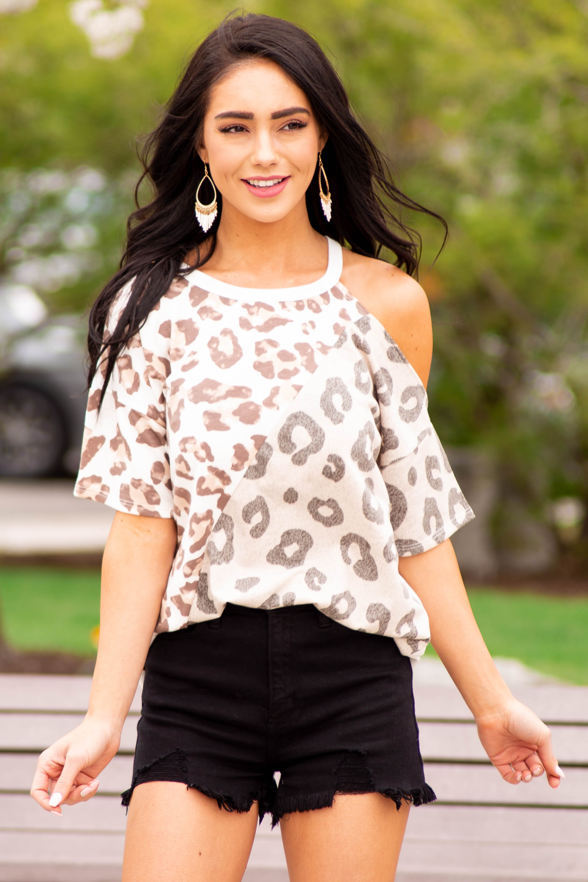 Ivory Multi Leopard Print Abstract Top with Cold Shoulder