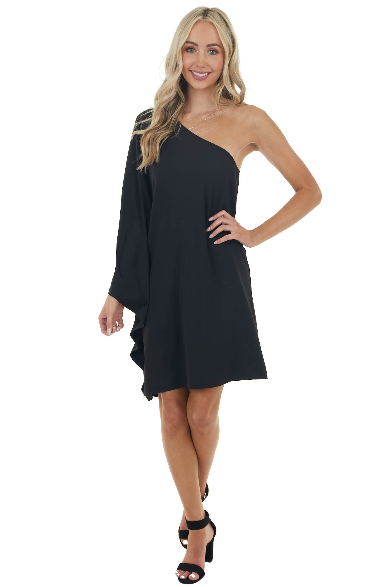 Black Long Sleeve Mini Dress with One Shoulder Detail