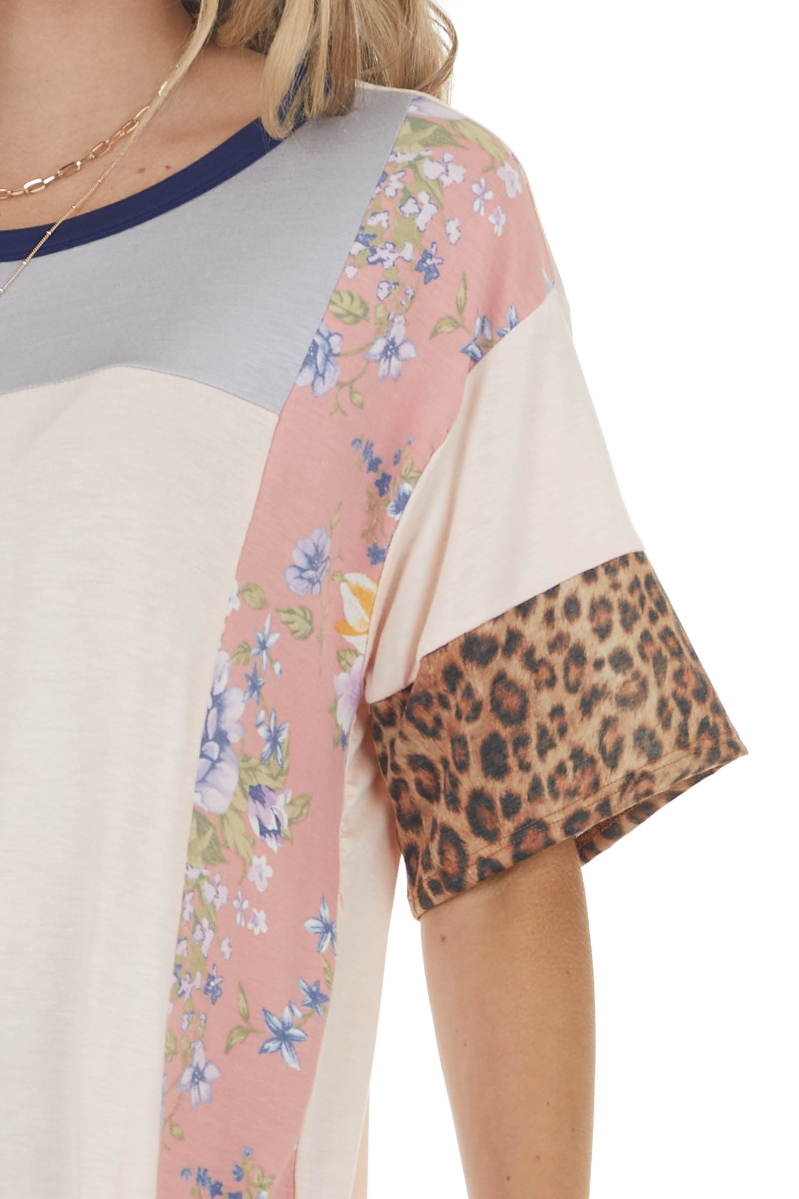 Light Peach Knit Top with Floral and Leopard Print Contrast