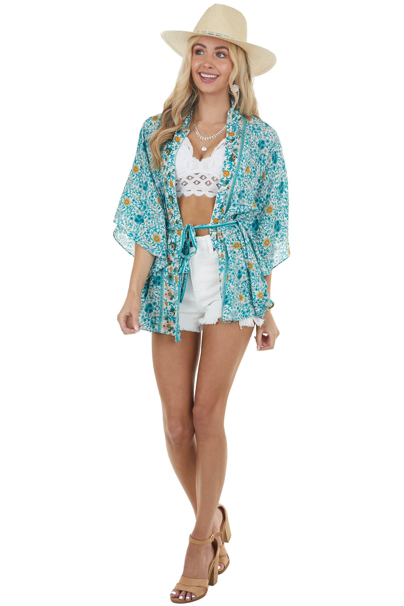 Teal Floral Print Open Front Kimono with Front Tie